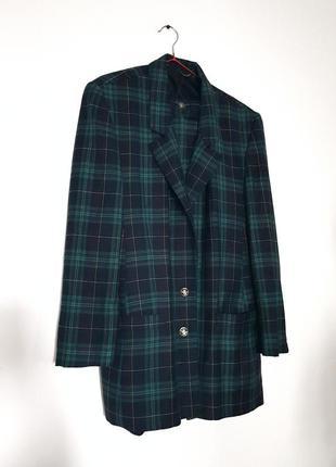 Элегантный  шерстяной костюм в клетку  basler! юбка с высокой посадкой! удлиненный пиджак