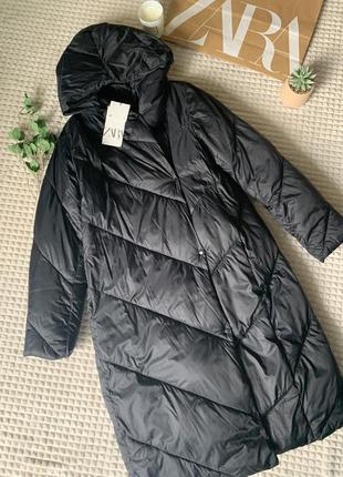 Трендовая зимняя удлиненная куртка/пуховик zara