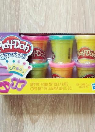 Набор для творчества плей-до 6 баночек блестящая серия play-doh sparkle compound