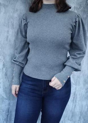 Красивый женский гольф,свитер с пышными рукавами