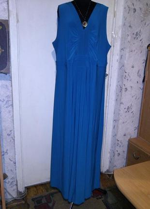 Длинное,трикотаж-масло,стрейч,а-силуэта,морской волны платье,большого размера,ann harvey