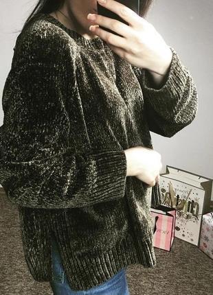 Плюшевый мягенький свитер хаки от george