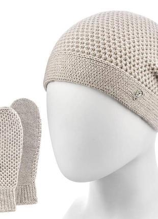 Набір шапка+рукавички 50% шерсть 50%пан