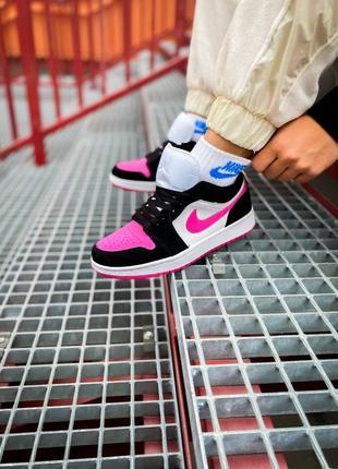 """Женские кроссовки nike air jordan 1 low """"white/black/pink найк джордан розовые с чёрным"""