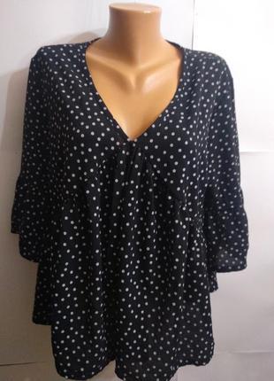 Новая блуза в горох свободного кроя рукав волан 16/50-52 размера