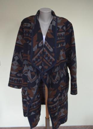 Шикарный модный  кардиган-пальто или длинный жакет с шерстью 3%