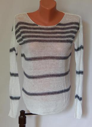 Льняной легкий пуловер *свитшот*джемпер в морском стиле mango basics (размер 34-36)