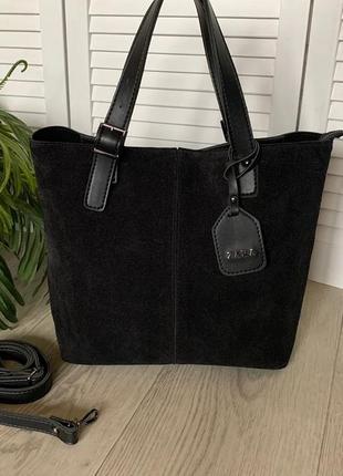 Новая стильная вместительная сумка из натуральной замши