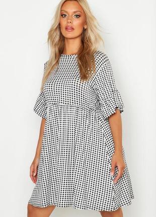 Boohoo платье рубашка чёрное белое клетчатое новое свободное оверсайз