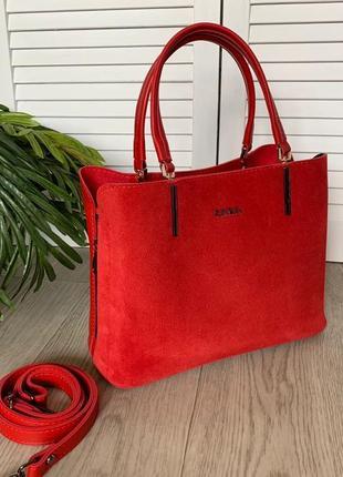 Новая красная сумка натуральная замша