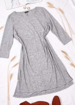 Серое платье рубчик