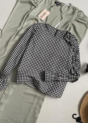 Хлопковая блуза в клетку zara