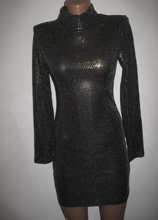 Платье с золотыми блестками boohoo р-р6