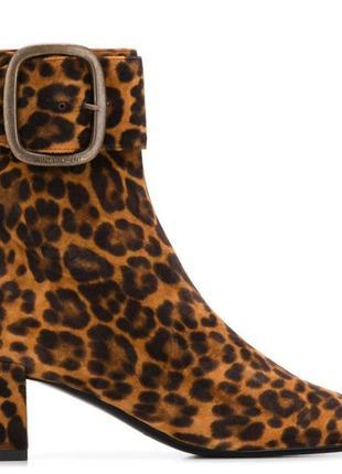 Кожаные ботильйоны с леопардовым принтом yves saint laurent оригинал.
