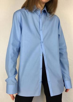 Ідеальна блакитна бавовняна сорочка