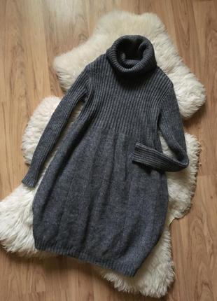 Тёплое вязаное  платье шерсть мохер италия теплое  🇮🇹