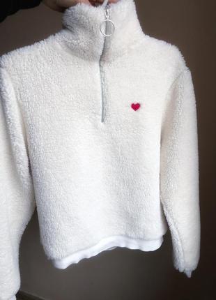 Кофта теплая мягкая с замочком с сердечком р.м
