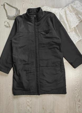Черная мужская теплая длинная флисовая куртка на флисе спортивная на молнии замке
