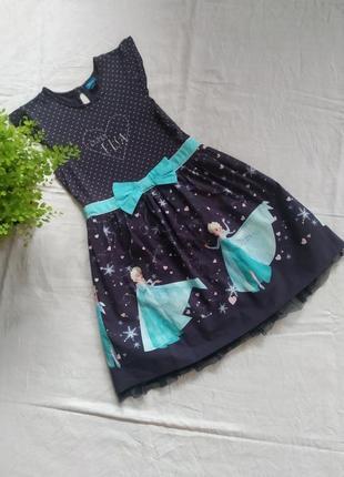 Детское платье холодное сердце  disney бренда george  uk 8-9  eur 128-135
