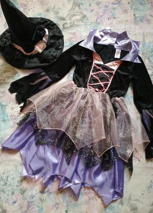 Платье ведьмочки, карнавальный костюм на хэллоуин tesco на 9-10 л
