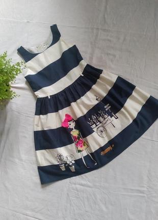 Детское хлопковое платье принт полоска бренда next uk 9 eur 134