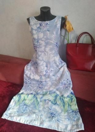 Натуральный лен, длинное 👗 платье, сарафан с затяжкой внизу