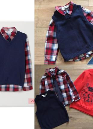 Рубашка, жилетка, галстук, свитшот для мальчика