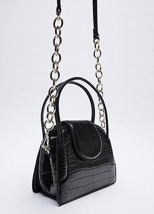 Новая мини сумочка zara зара сумка эко кожа крокодиловая