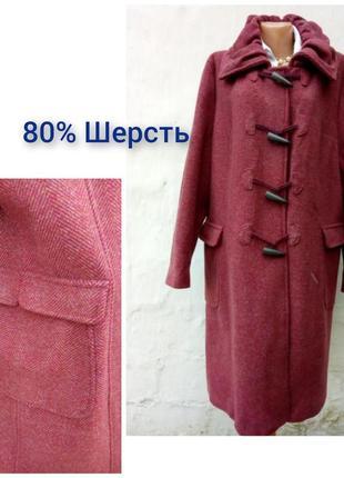 Стильное шерстяное караловое пальто дафлкот oversize в елочку south 🔥