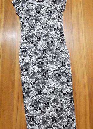Платье миди футляр с черепами от select размер s