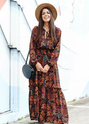 Красивое платье макси в цветы р.14 (хл)