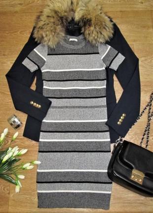 Эффектное облегающее трикотажное платье zara knit в рубчик р.s/26