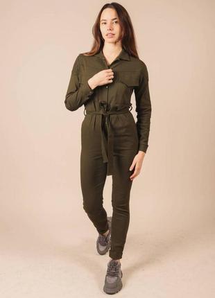 Комбинезон из стрейчевого джинса в стиле милитари