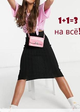 🌿1+1=3 трикотажная черная юбка миди marks&spencer на завышенной талии, размер 50 - 52