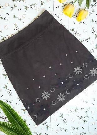 🌿1+1=3 брендовая юбка микровельвет с вышивкой в этно-стиле laura ashley, размер 48 - 50