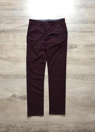Мужские темно бордовые брюки topman