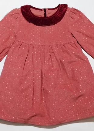 Трендовое вельветовое платье m&s  12-18 мес