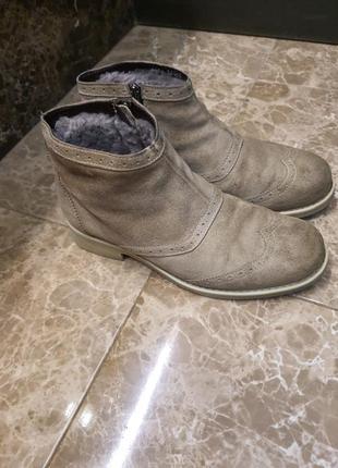 Мужские зимние ботинки черевики etor натуральная замша мех