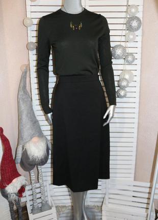 Черная шерстяная юбка valentino