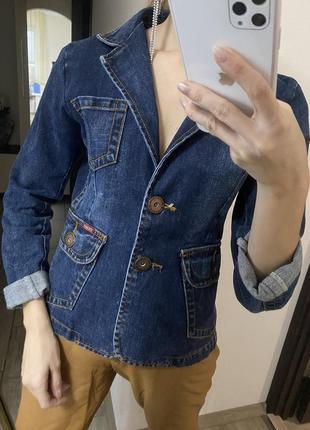 Джинсовый жакет пиджак котоновый темно-синий