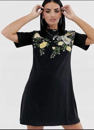 Asos чорна вишита міні-сукня