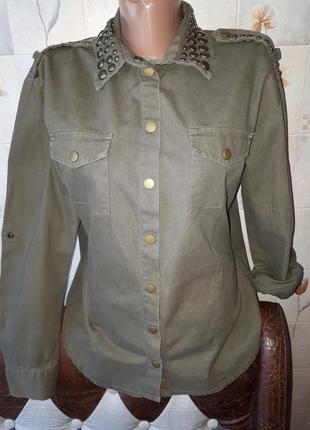 Джинсовая рубашка хаки