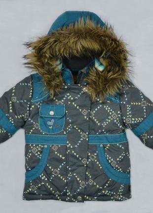 Детская зимняя куртка для девочки серо-зеленая (quadrifoglio, польша)