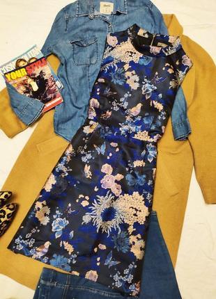 Oasis платье серое в синий цветочный принт кимоно на подкладке