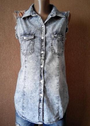 Рубашка джинсовая,варёнка denim co
