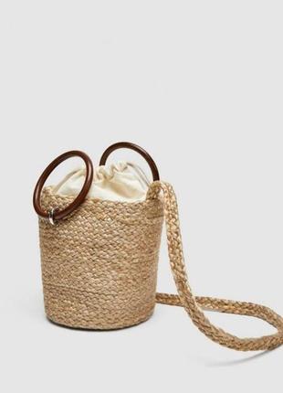 Джутовая плетеная сумка zara свежая коллекция