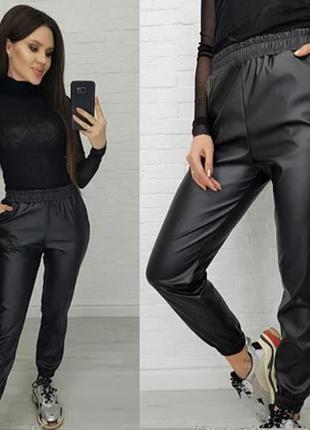 """Утепленные кожаные штаны на флисе """"маркус"""" (250-285фг)"""
