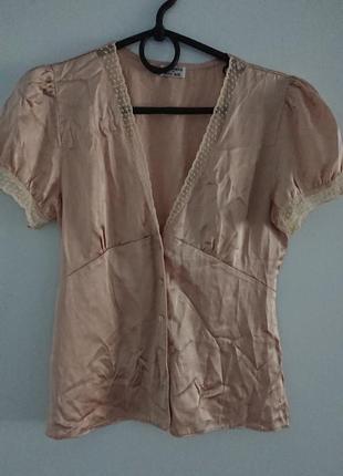 Нежная шелковая блуза ross+bute (англия), легкая и красивая, 100%шелк