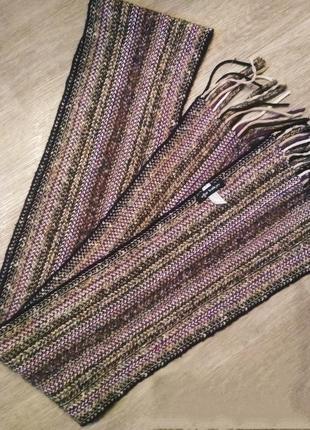 Длинный меланжевый шарф натуральная шерсть ugur balkuv