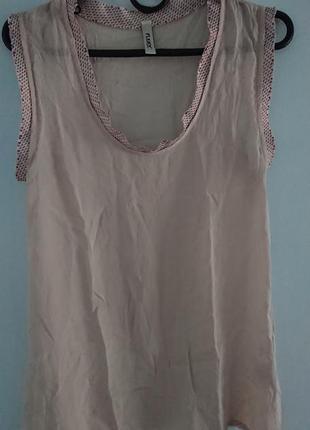 Милая летняя майка please (италия)/топ/тонкая блуза без рукавов, удлиненная 35%шелк